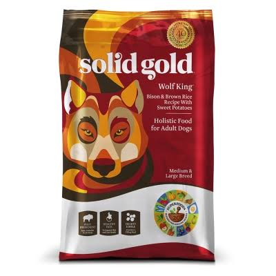 Solid Gold Wolf King Holistic Adult Dog Dry Food - Bison & Brown Rice Recipe & Sweet Potatoes, 24lb