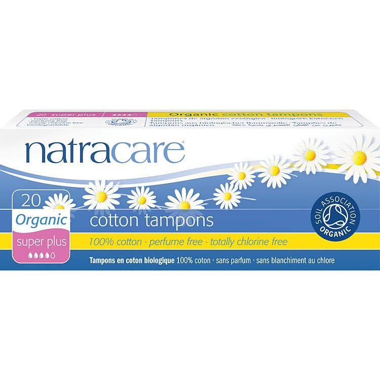 Natracare Organic Super Plus Cotton Tampons - 20 Pieces