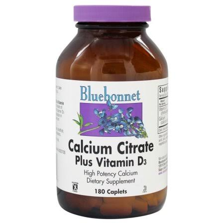 Bluebonnet Calcium Citrate Plus Vitamin D3 Supplement - 180 Caplets