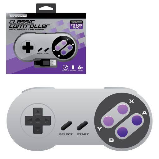 Teknogame USB SNES Style Wired Controller Gamepad for PC - Purple