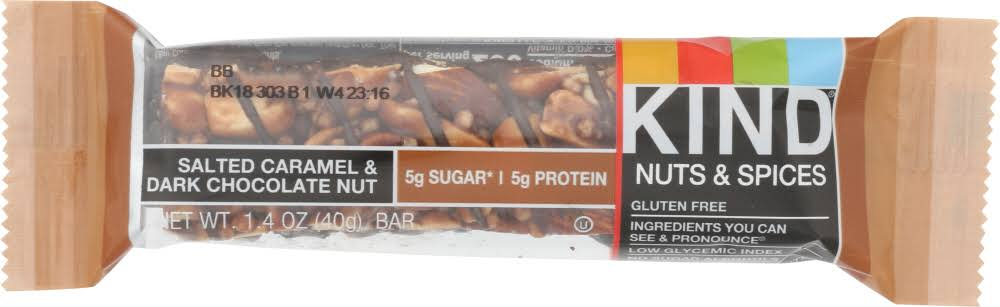Kind Nuts & Spices Bar, Salted Caramel & Dark Chocolate Nut - 1.4 oz bar