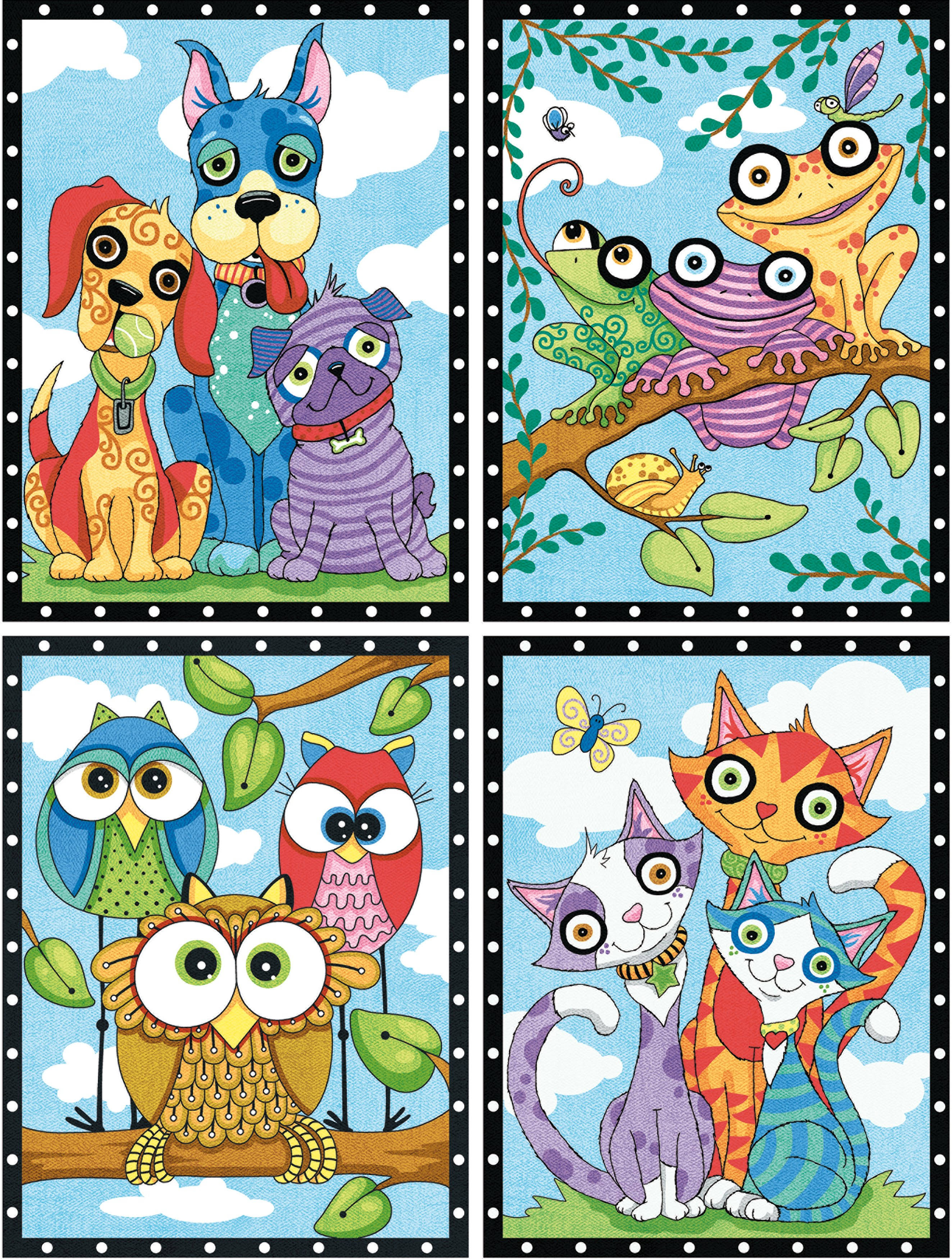 "Paint Works Paint by Number Kit 9""X12"" Animal Trios"
