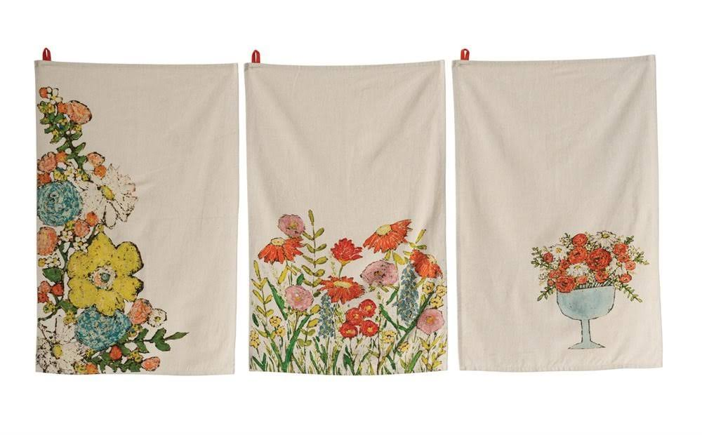 Floral Pattern Natural Background Cotton Decorative Tea Towels Set - 3pcs Set, 28' X 18""