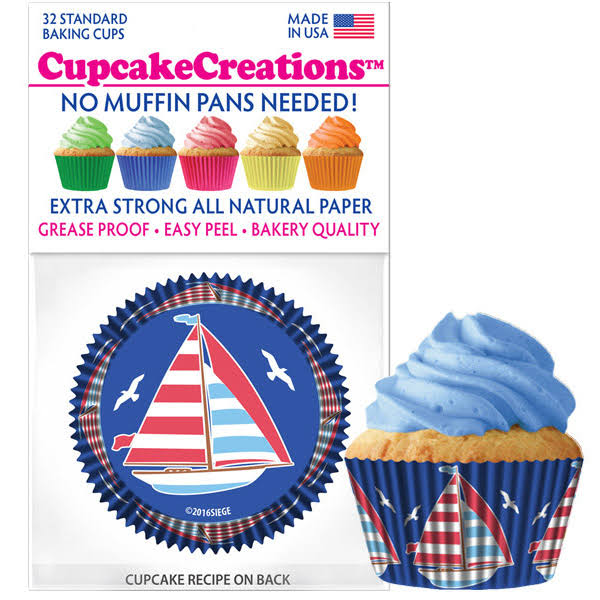 Cupcake Creations Sailboats Baking Liners, 32 Count