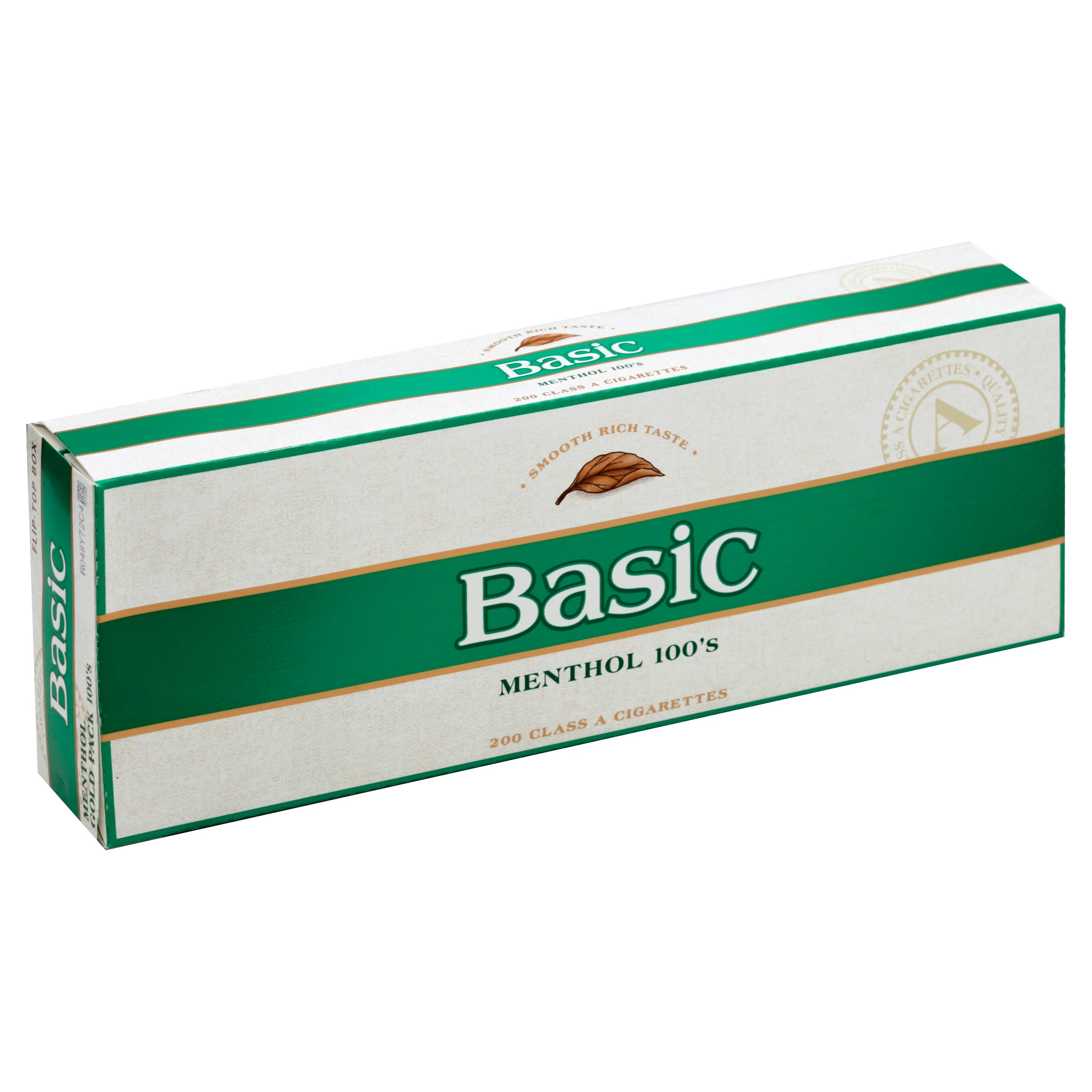 Basic Cigarettes, Menthol Gold Pack 100's, Flip-Top Box - 200 cigarettes