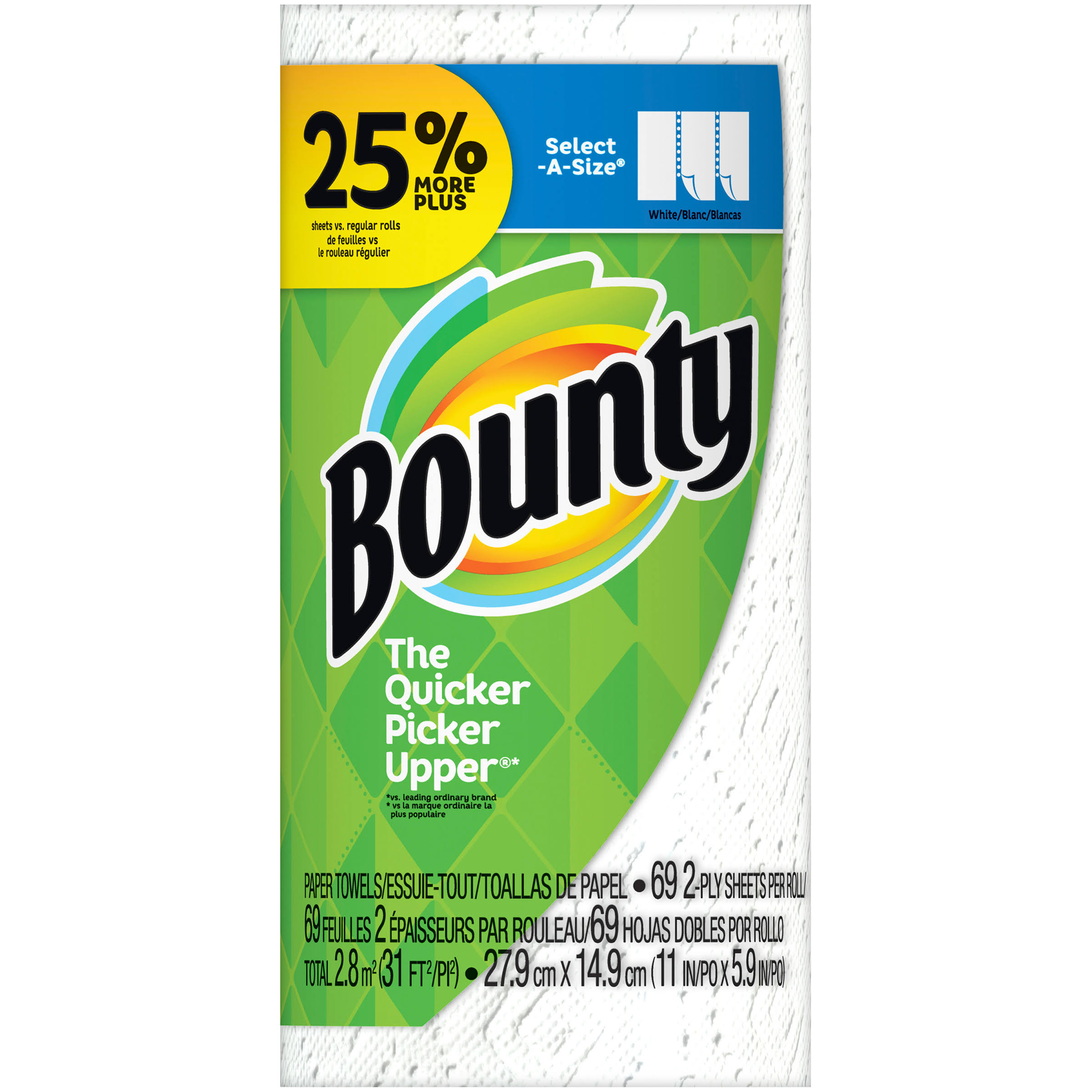 Bounty Paper Towels, White, Big Roll, Select-A-Size