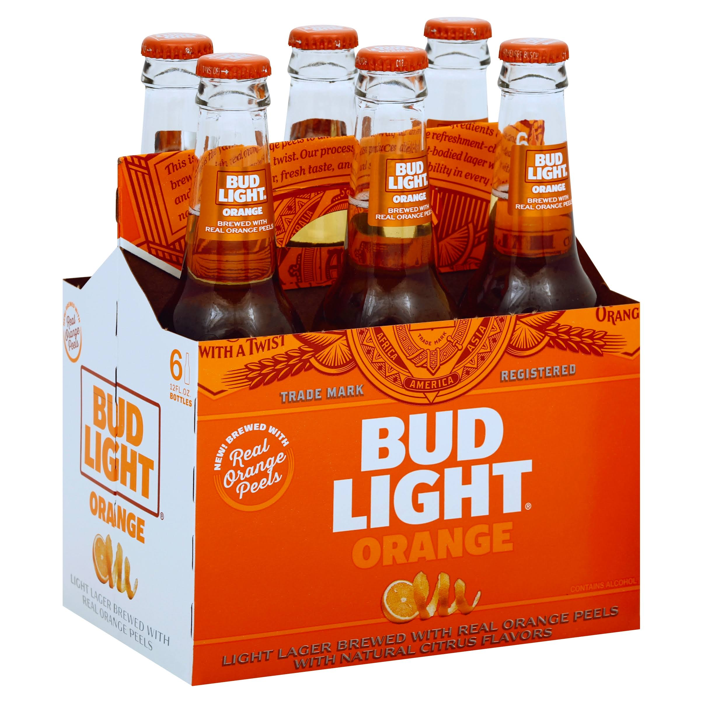 Bud Light Beer, Orange - 6 pack, 12 fl oz bottles