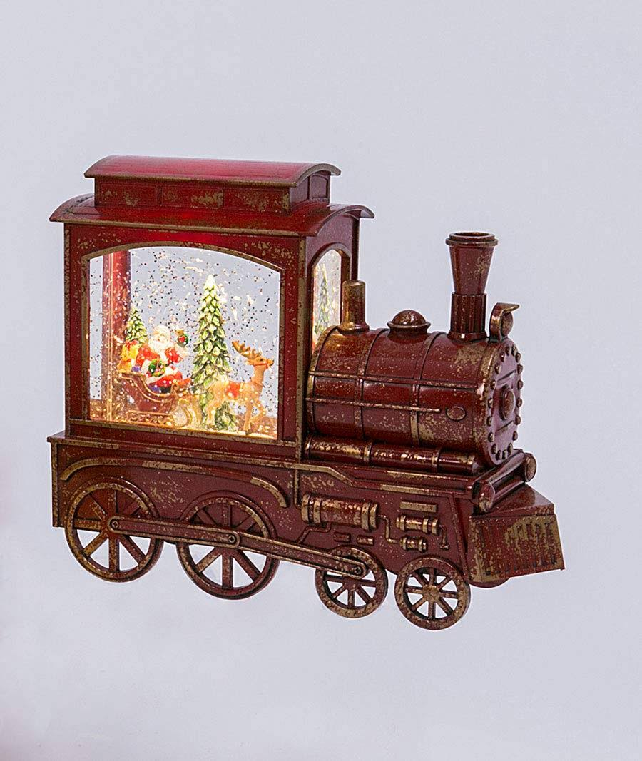 Lighted Train Water Lantern Santa Sleigh with Swirling Glitter with Optional Music Setting - 2497420 by Gerson