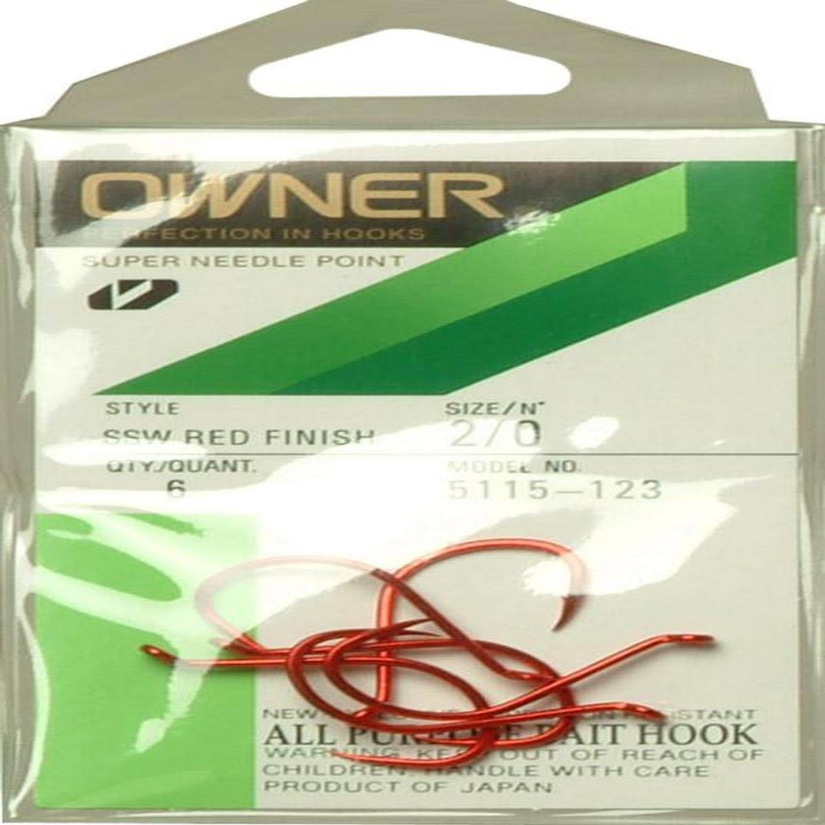 Owner SSW Super Needle Point Hooks - Red, #2/0