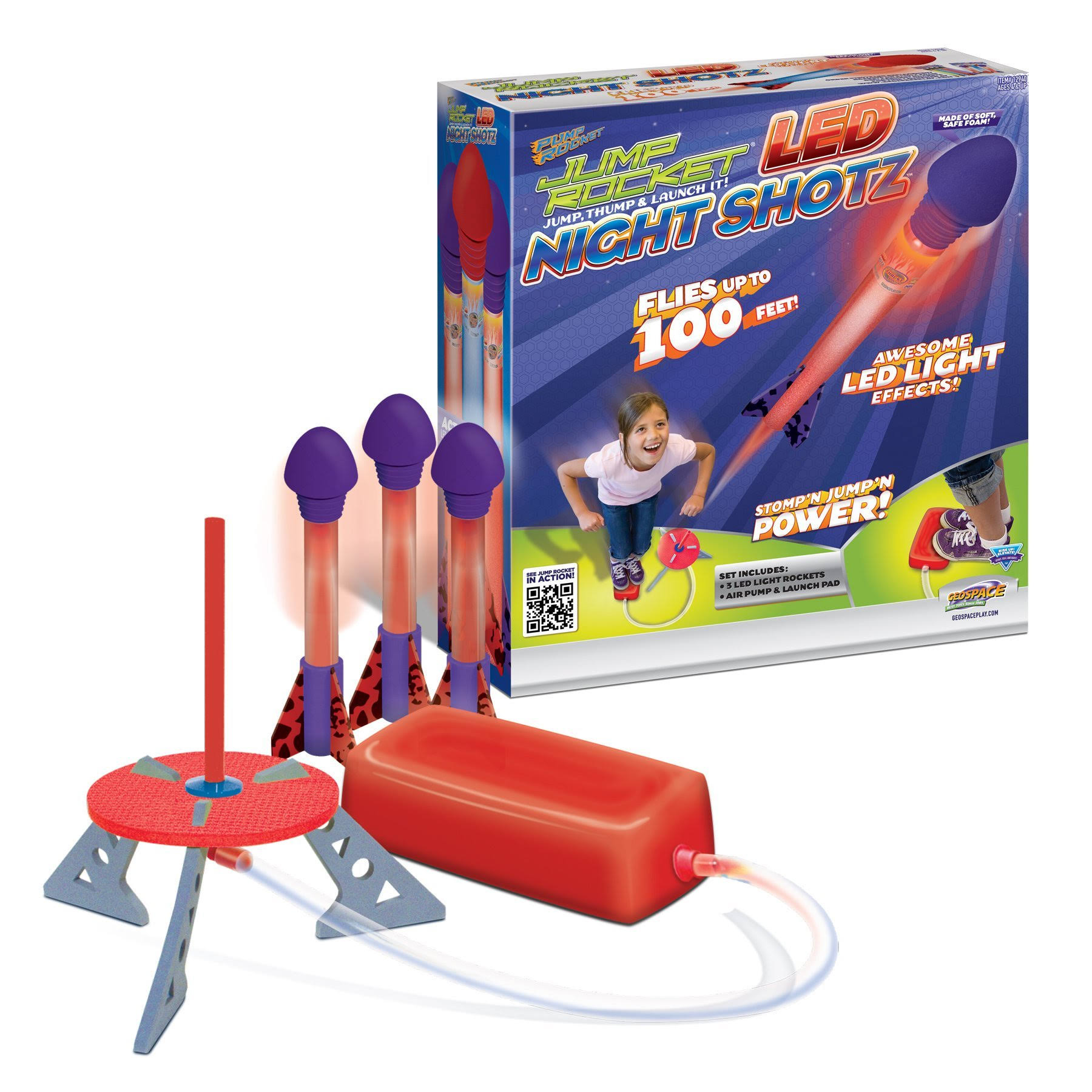 Geospace Jump Rocket LED Night Shotz - Jump Pump, Launcher & Light-Up Flying Foam Rockets