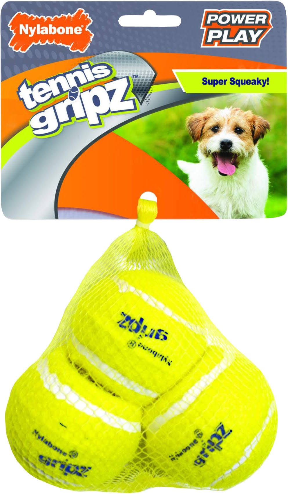 Nylabone NPLY003P Power Play Tennis Gripz Ball, Yellow, Small/3 Pk