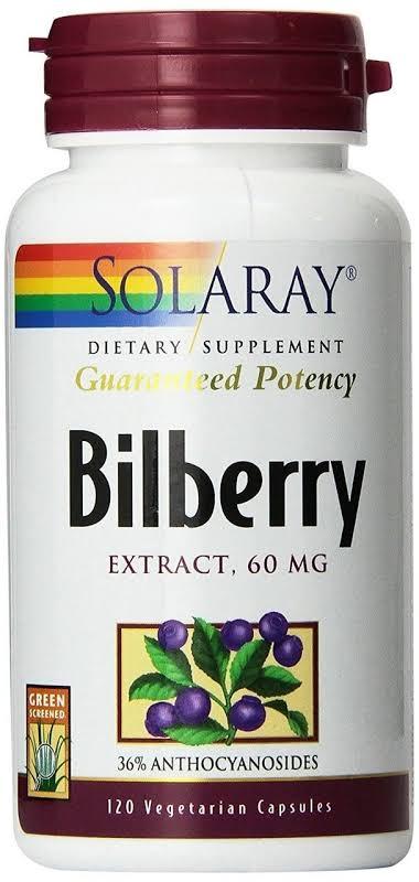 Solaray Guaranteed Potency Bilberry Extract 60 mg. 120 Vegetarian Capsules