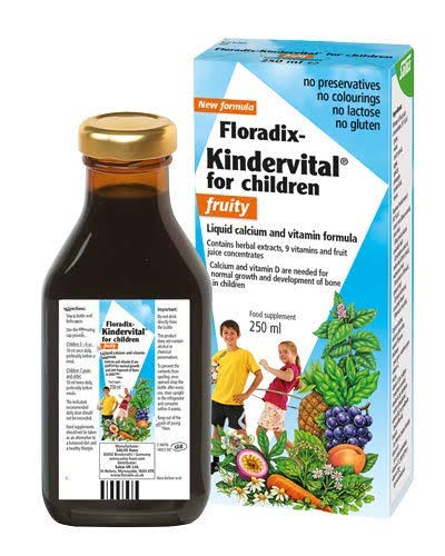 Floradix Kindervital for Children Liquid Calcium and Vitamin Formula - Fruity, 250ml