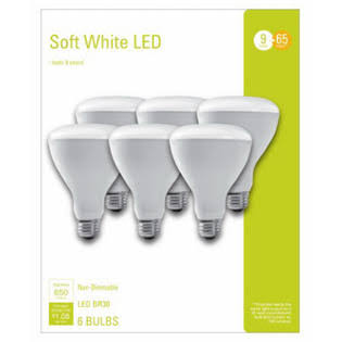 GE Lighting 240110 9W BR30 Soft White Reflector Flood LED Light Bulb - Pack of 6