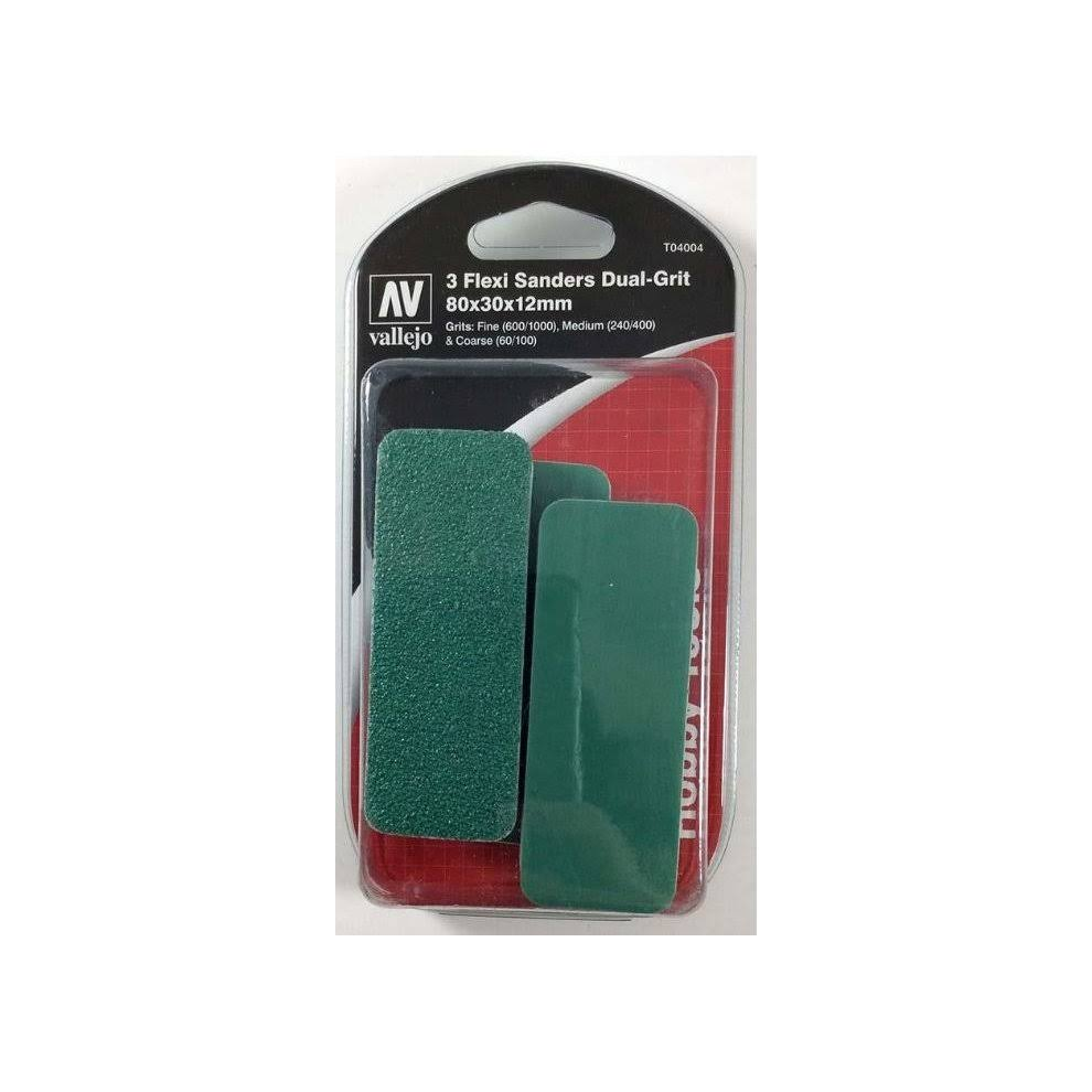 Acrylicos Vallejo Vjp04004 80 x 30 x 12 mm FlexiSander Dual Pack of 3