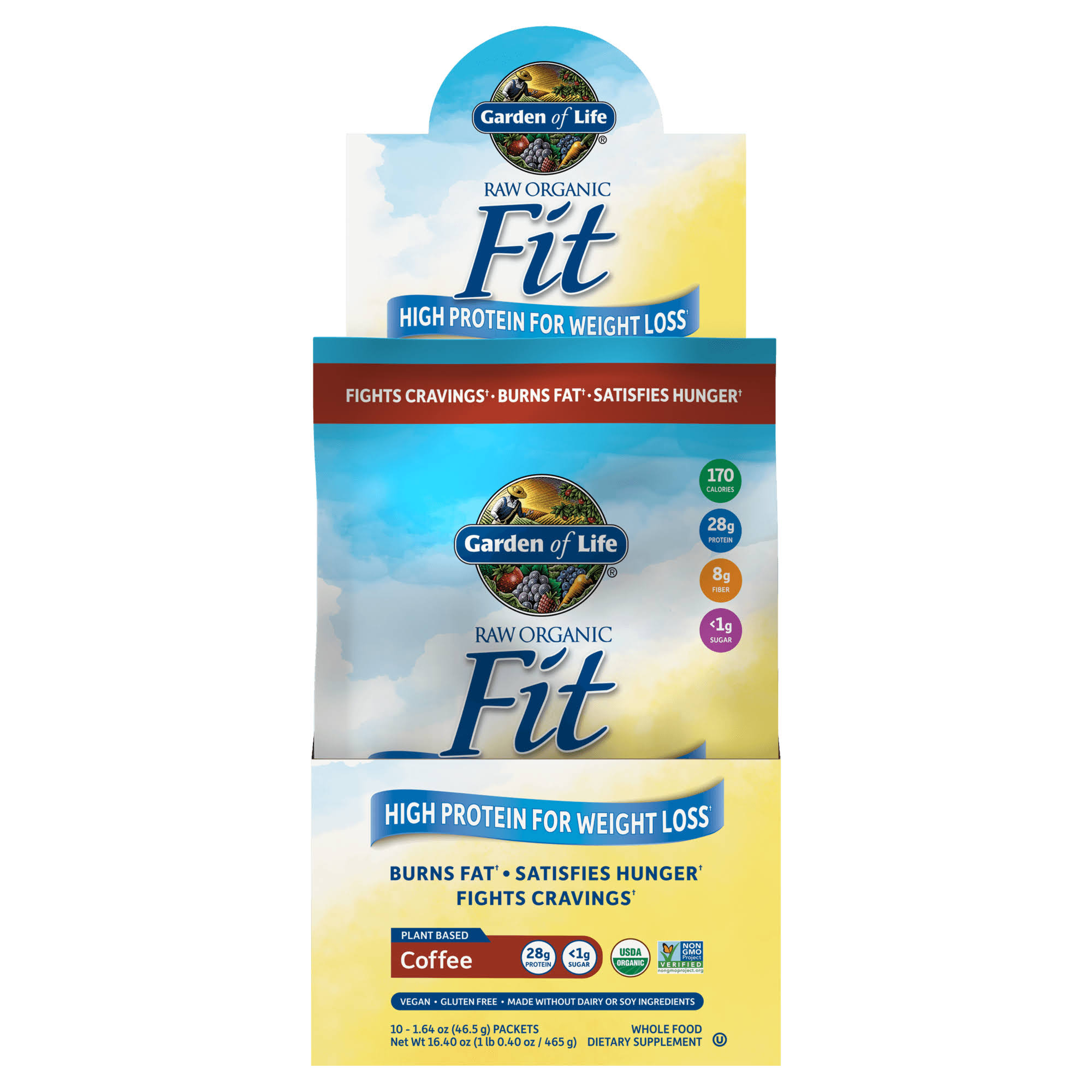 Garden Of Life Raw Fit Protein Dietary Supplement Powder - Coffee, 450g, 10 Packets