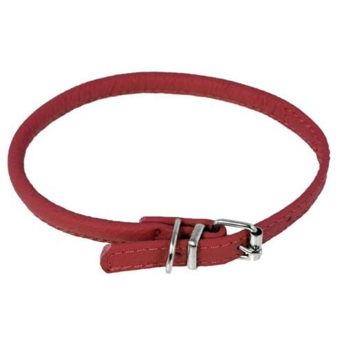 Dogline Leather Collar - Red