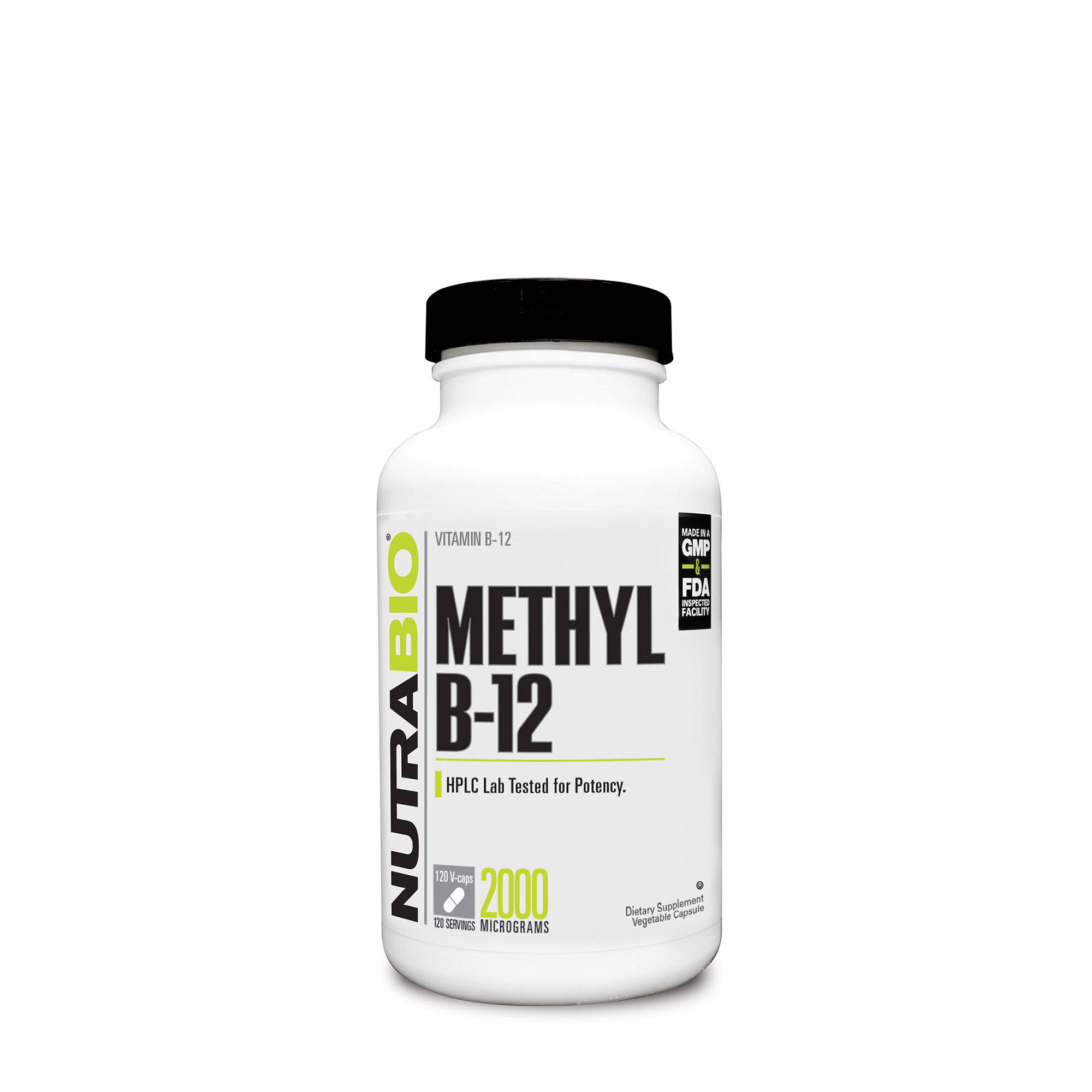 NutraBio Methyl B-12 Supplement - 2000mcg, 120 Caps
