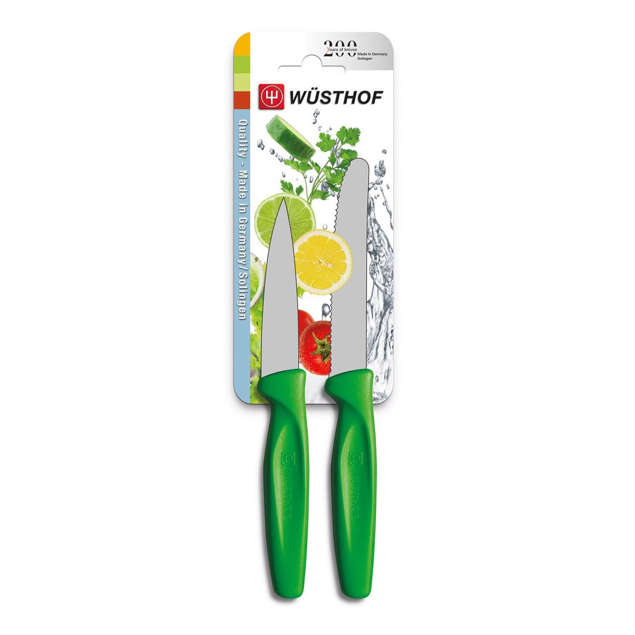 Wusthof Zest 2 Piece Paring & Serrated Knife Set, Green