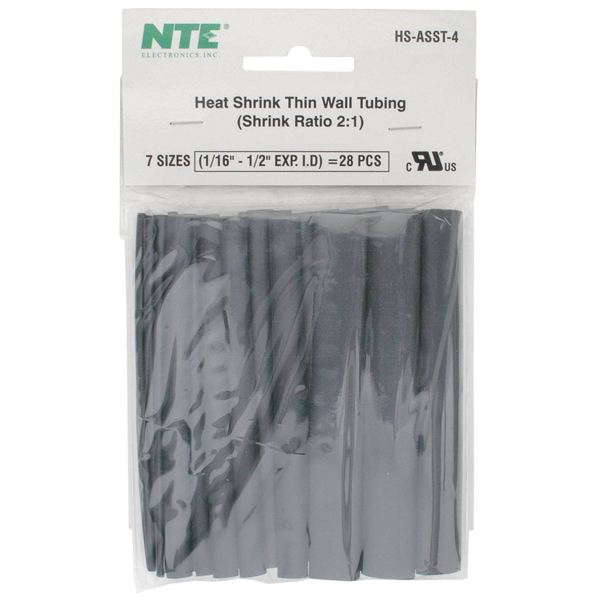 "NTE Electronics Thin Wall Heat Shrink Tubing Kit - Black, Assorted Diameter, 4"" Length, 28pcs"