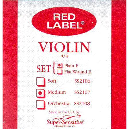Super Sensitive Red Label 2107 Steelcore Violin Strings - Medium Gauge