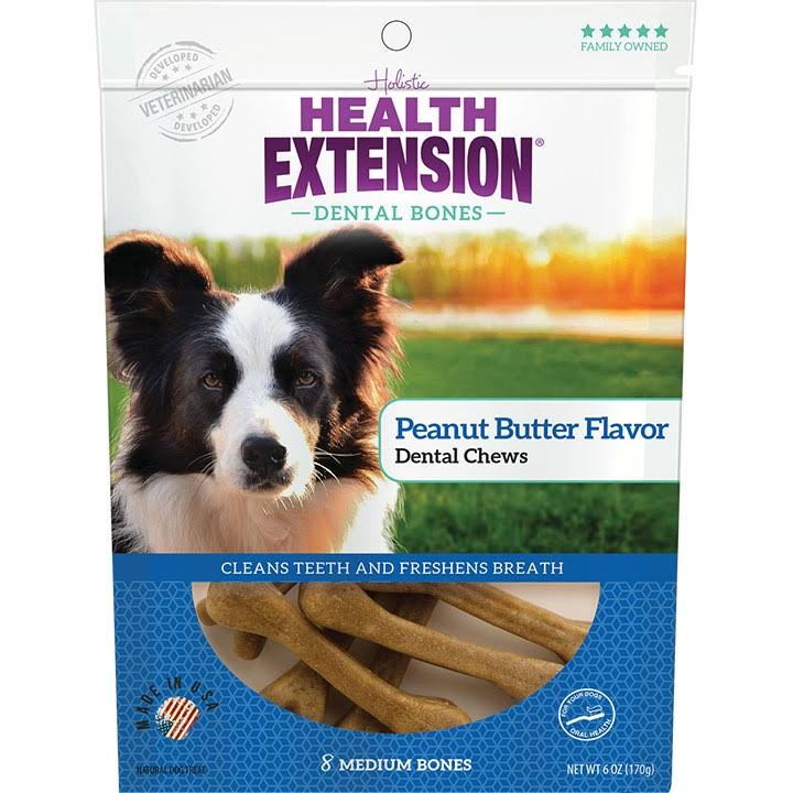Health Extension Peanut Butter Flavor Dental Bones Dog Treats, Medium