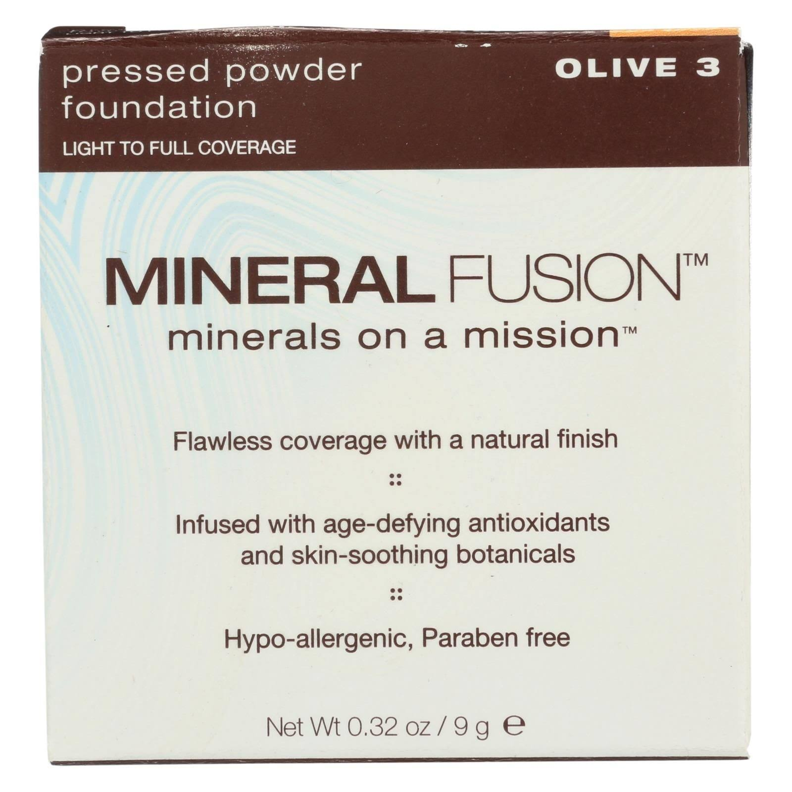 Mineral Fusion Pressed Powder Foundation - Olive 3, 0.33oz
