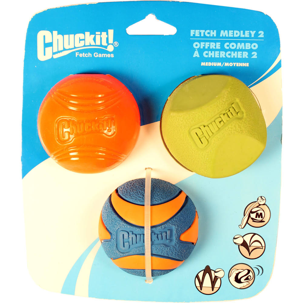 Chuckit Fetch Medley 2 Pet Dog Toy Balls - Medium, 3pk