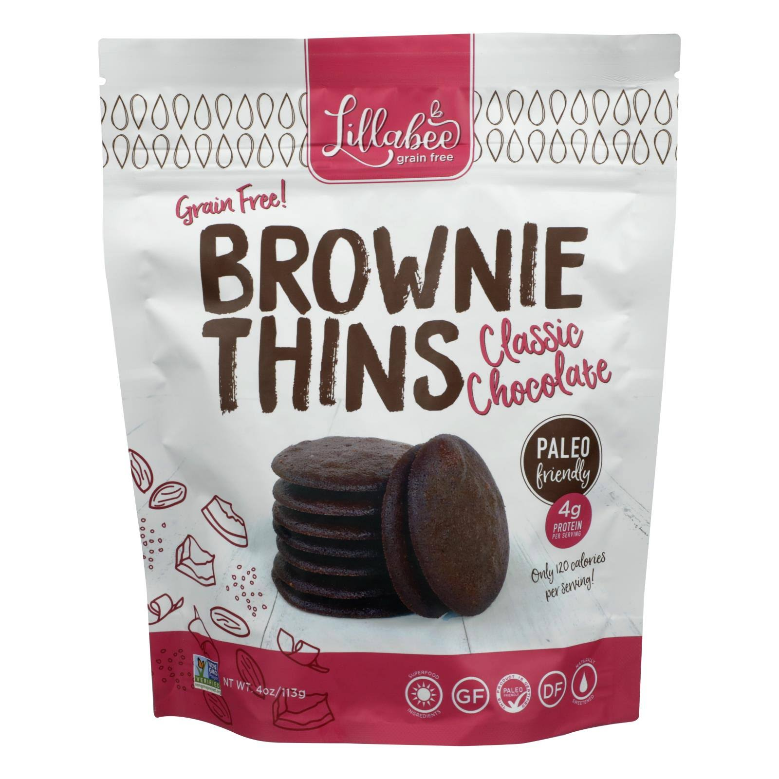 Lillabee Snacks Brownie Thins, Classic Chocolate 4 oz Bag