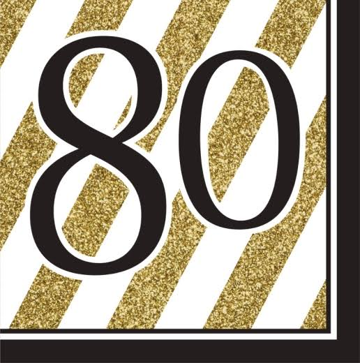 Creative Converting 80th Birthday Napkins - Black and Gold, 16pk