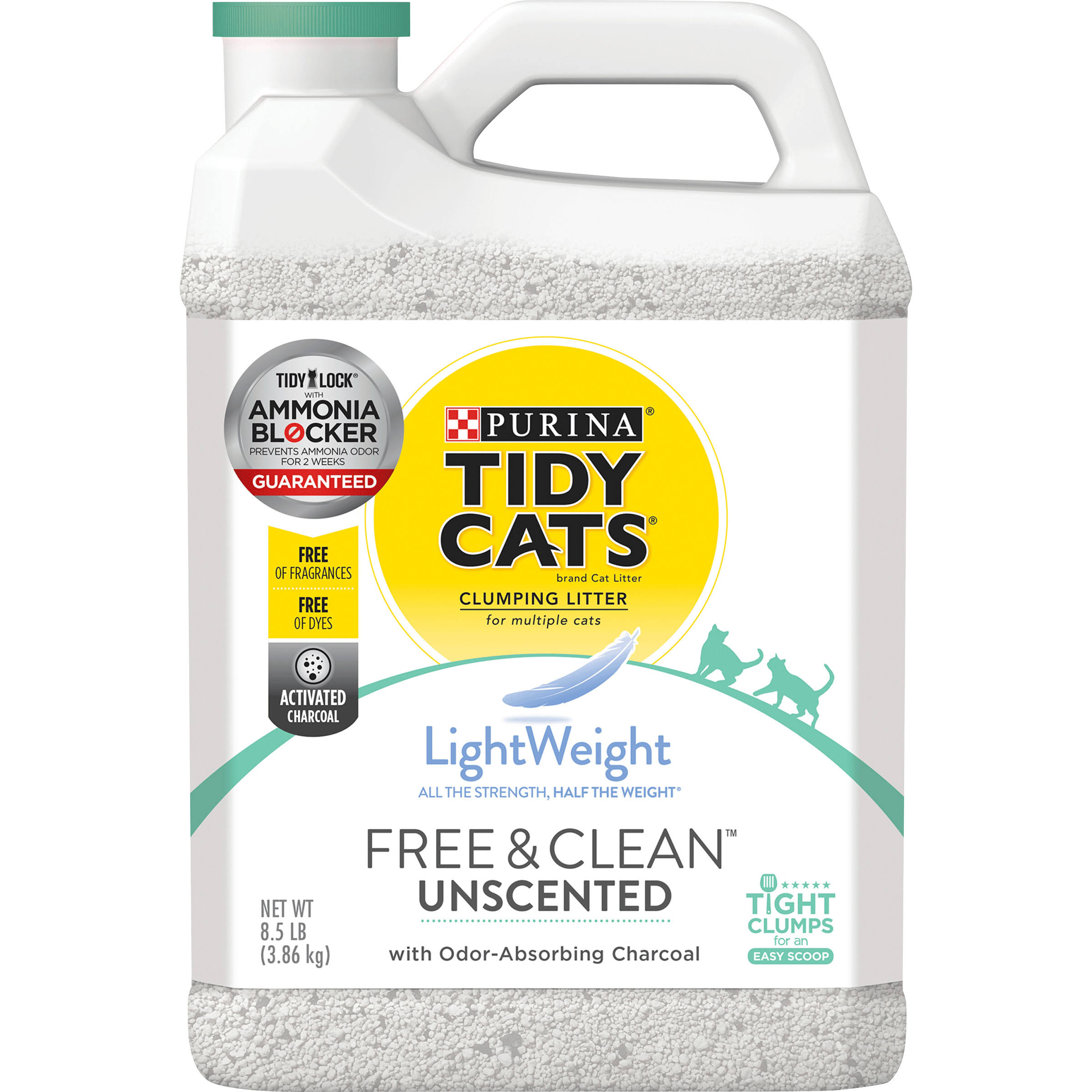 Tidy Cats LightWeight Cat Litter, Clumping, Free & Clean, Unscented - 8.5 lb