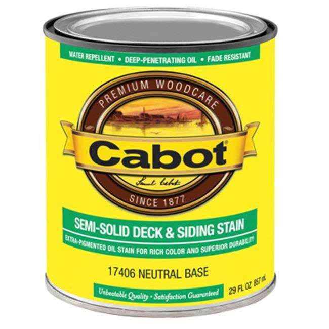 Cabot 206104 Semi-solid Deck and Siding Stain - Neutral Base, 1qt