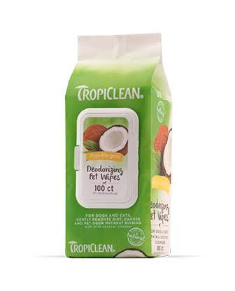 TropiClean Hypo Allergenic Deodorizing Wipes - 100 ct