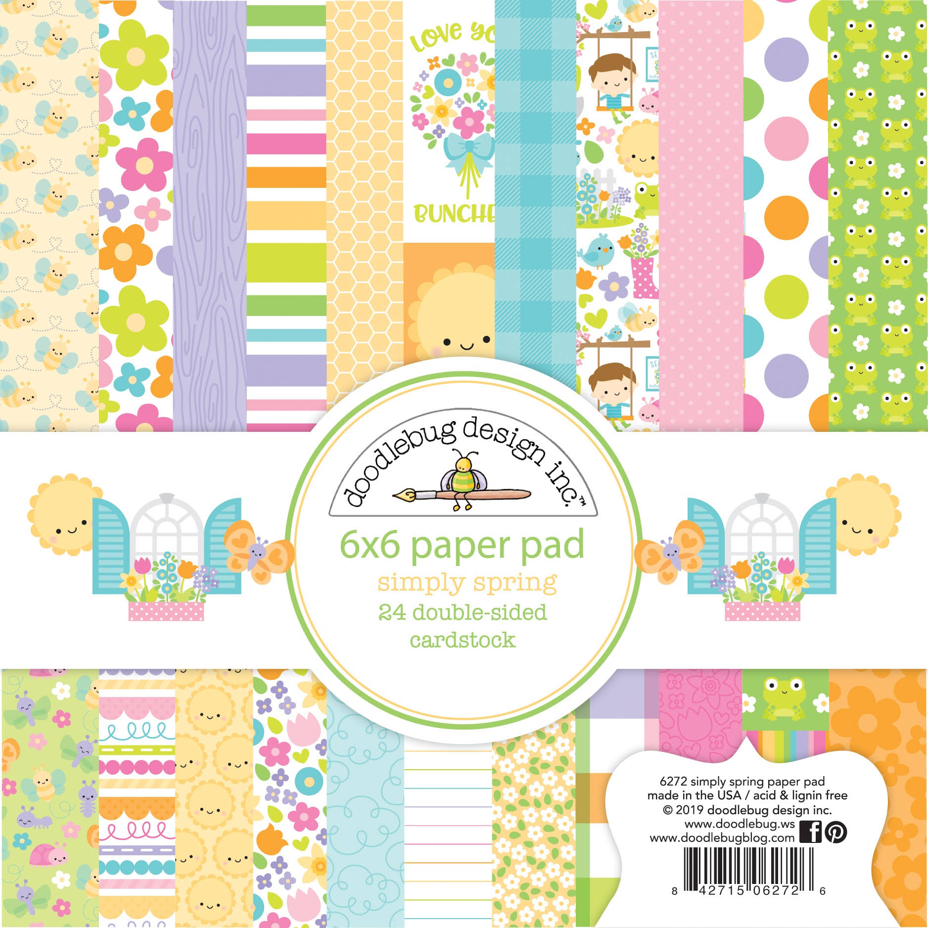 "Doodlebug Double-Sided Paper Pad 6""x6"" 24/Pkg-Simply Spring, 12"