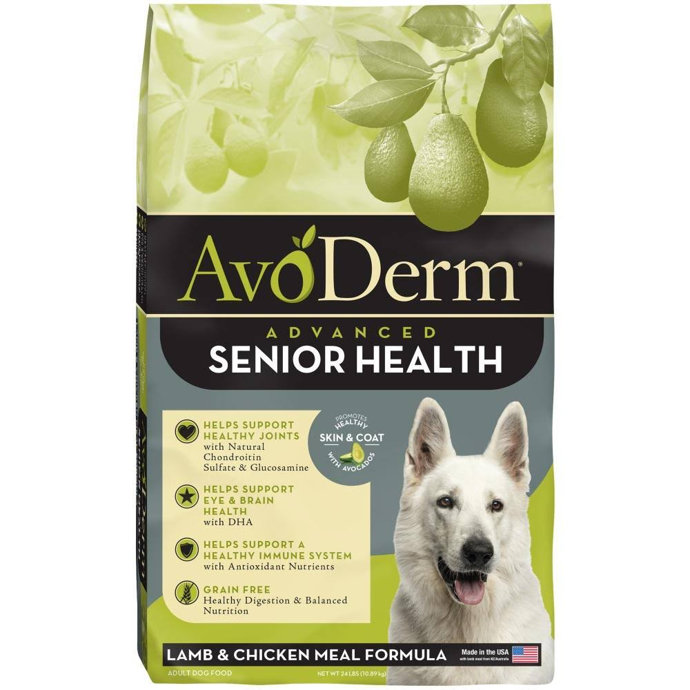 AvoDerm Senior Health Grain Dry Dog Food - Lamb Meal, 24lbs