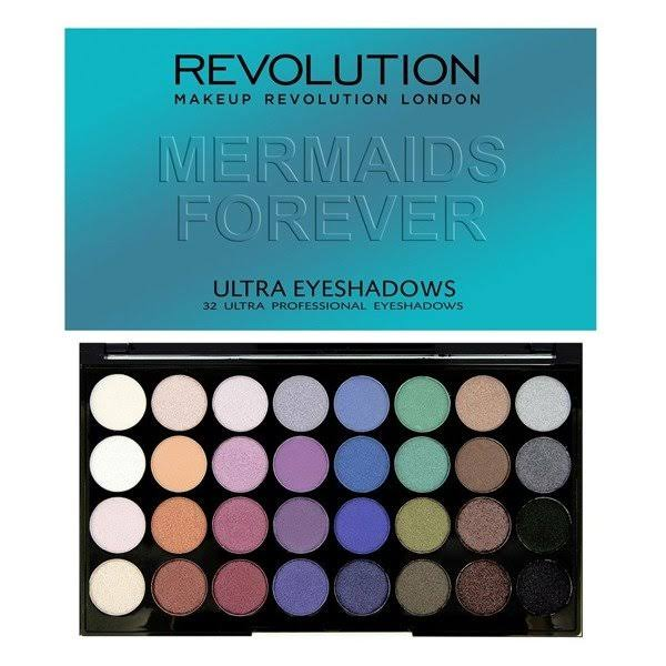 Makeup Revolution Ultra Eyeshadows Palette - Mermaids Forever, 30g