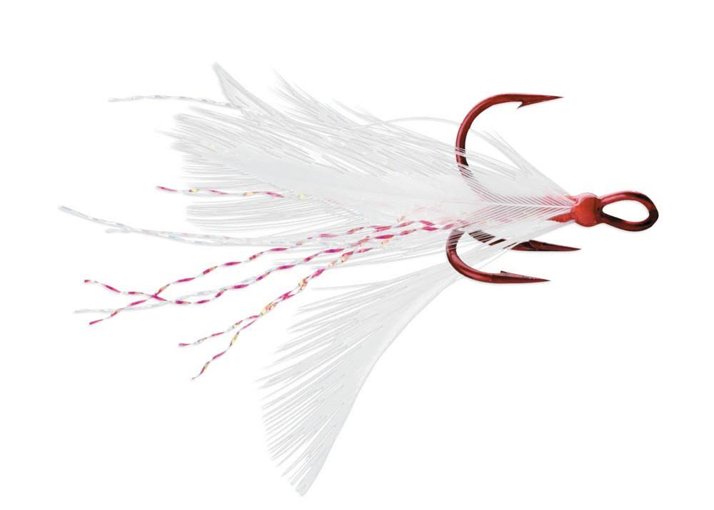 VMC Dressed X-Rap Treble Hooks Red/White/Tin Red; 6