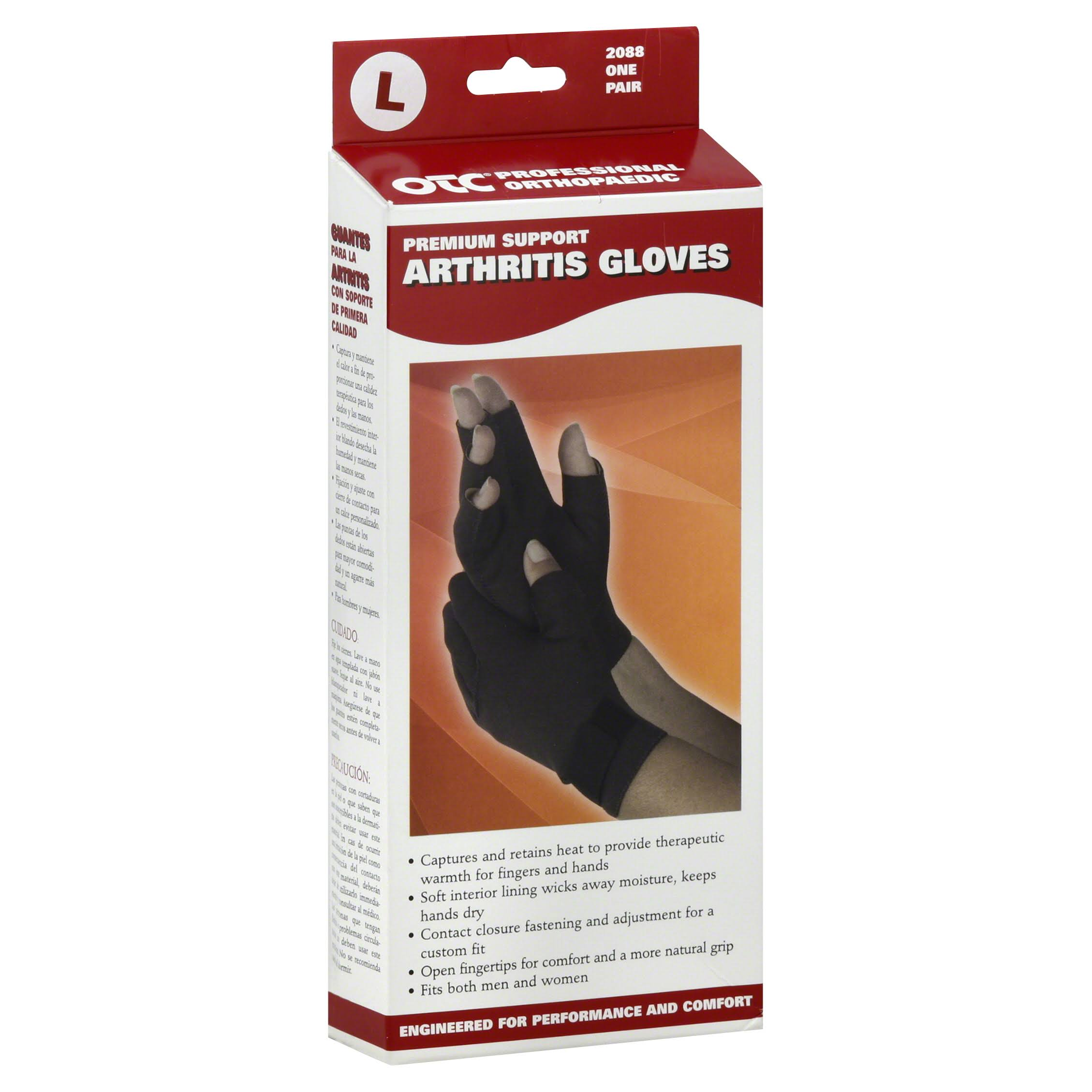 OTC Premium Support Arthritis Gloves - Black, Large