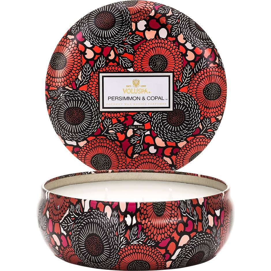 Voluspa 3-Wick Candle in Decorative Tin - Persimmon and Copal, 340g