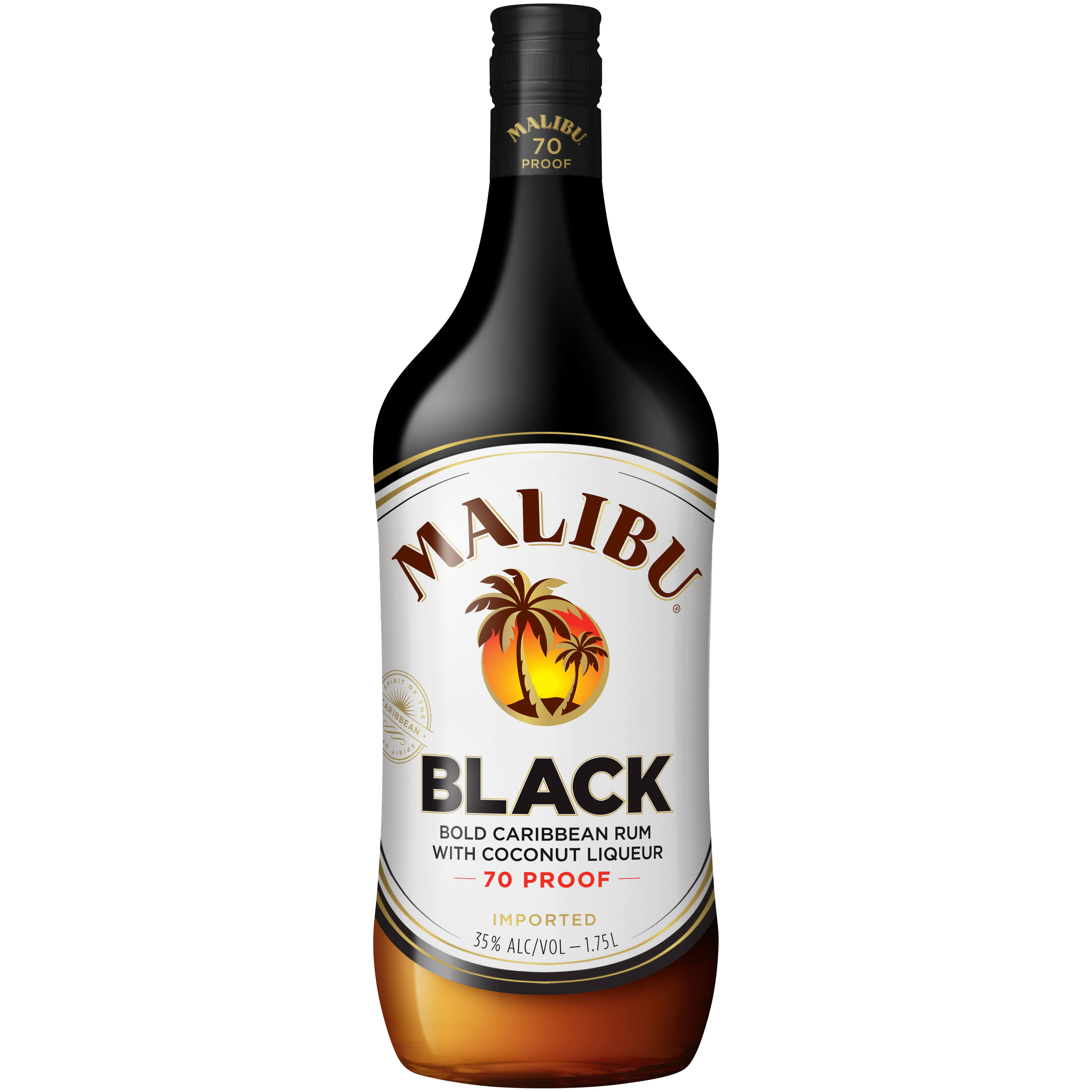 Malibu Rum Caribbean Black 1.75 L Bottle