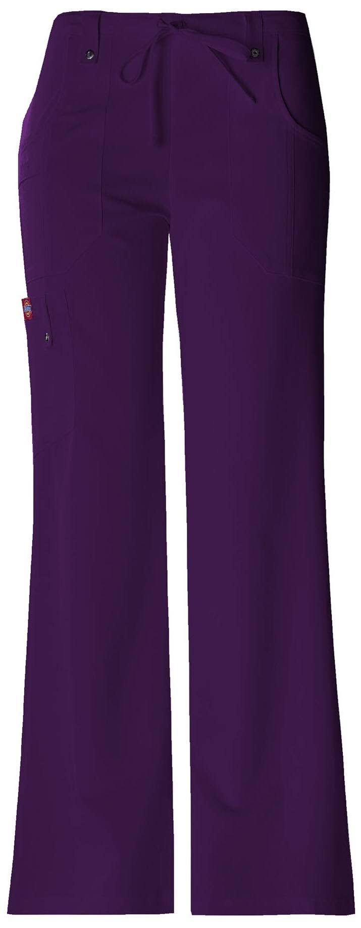 Dickies Women's Xtreme Stretch Fit Drawstring Flare Leg Pants - Eggplant, XSmall