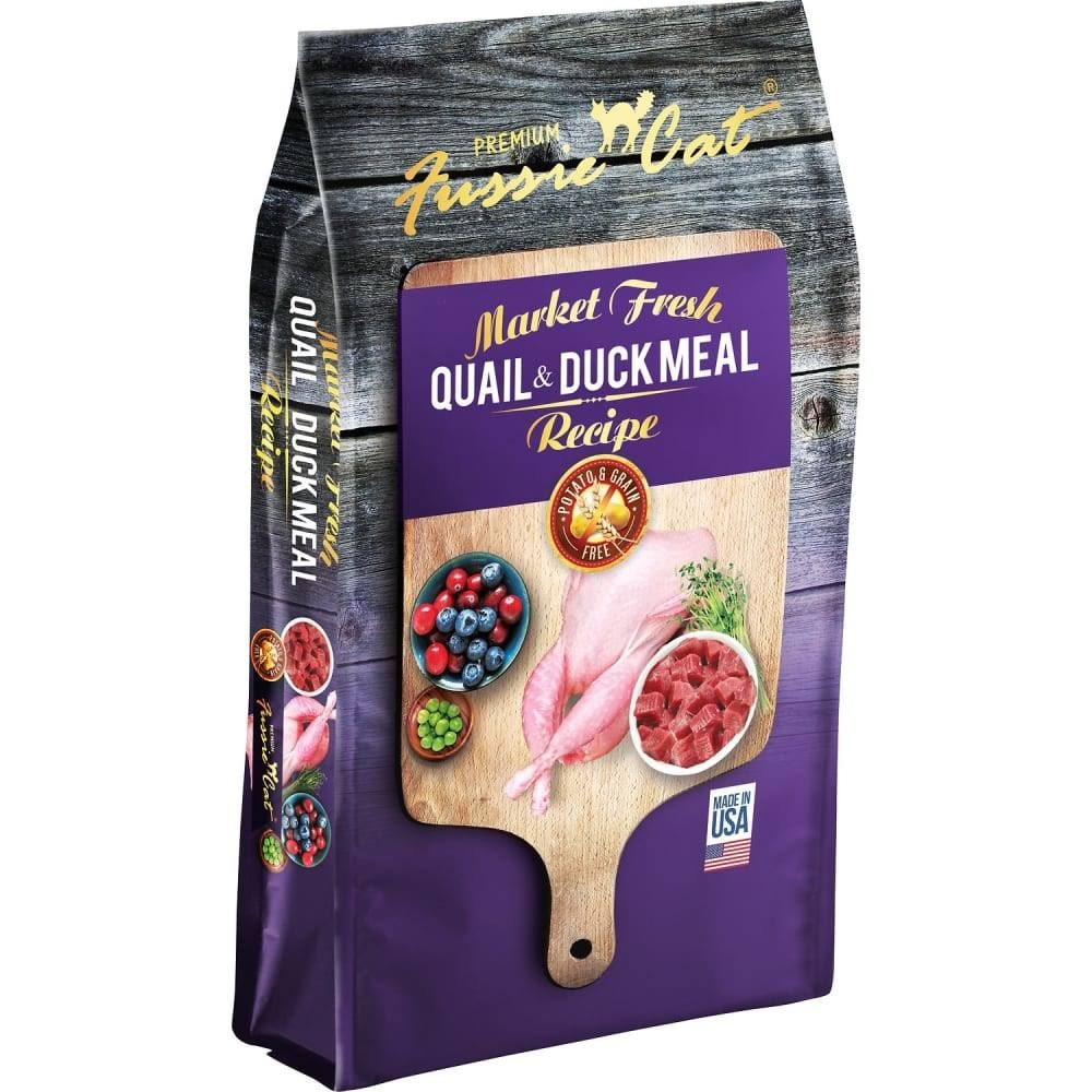Fussie Cat Market Fresh Grain Free Quail & Duck Meal Recipe Dry Cat Food - 4-lb