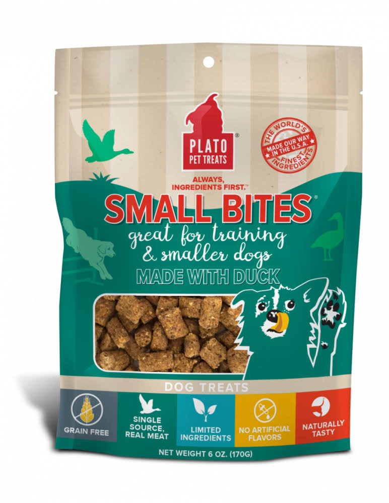 Plato Small Bites Dog Treats, 6 oz, Duck
