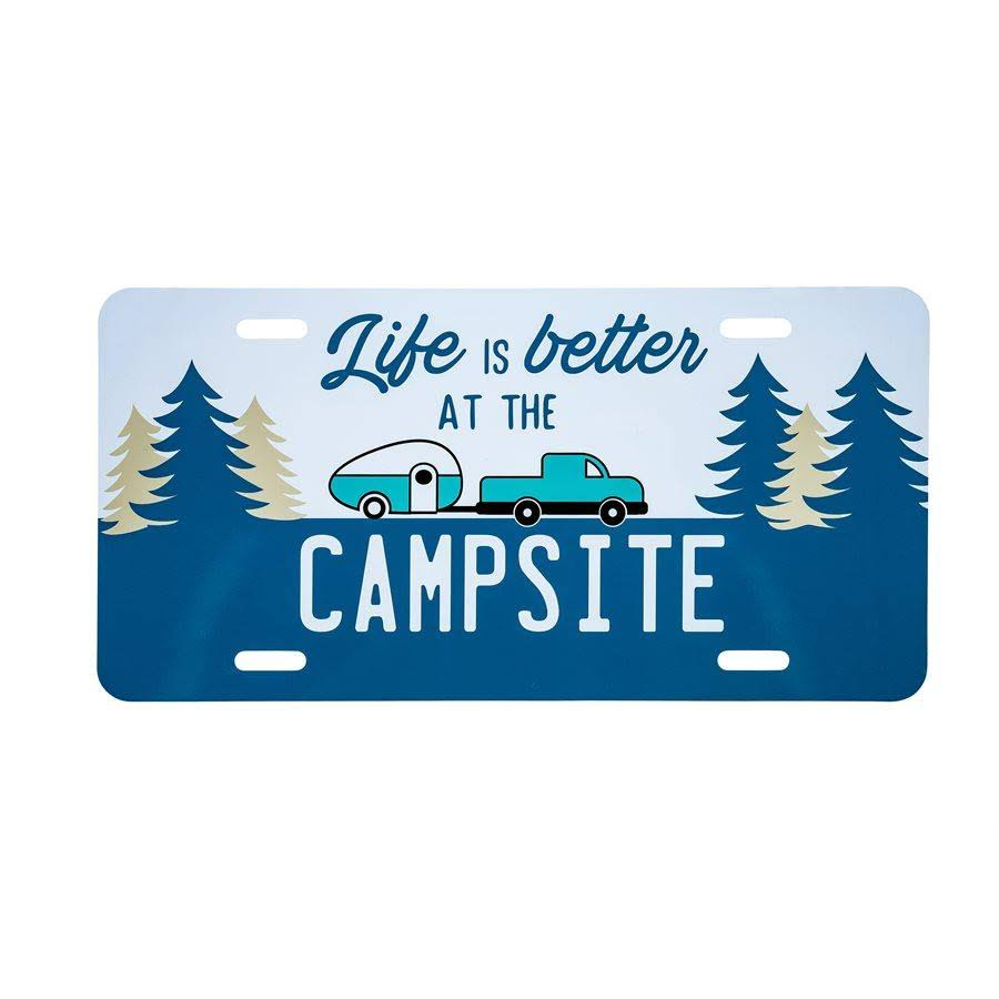 Camco Life Is Better at The Campsite Novelty Vehicle Front License Plate - Perfect for RVs, Campers and Trailers and More, 6 inch x 12 inch , Navy