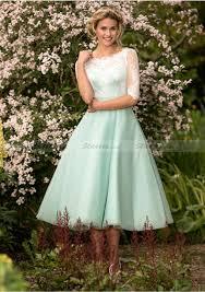 a line princess scoop neck tea length tulle bridesmaid dresses