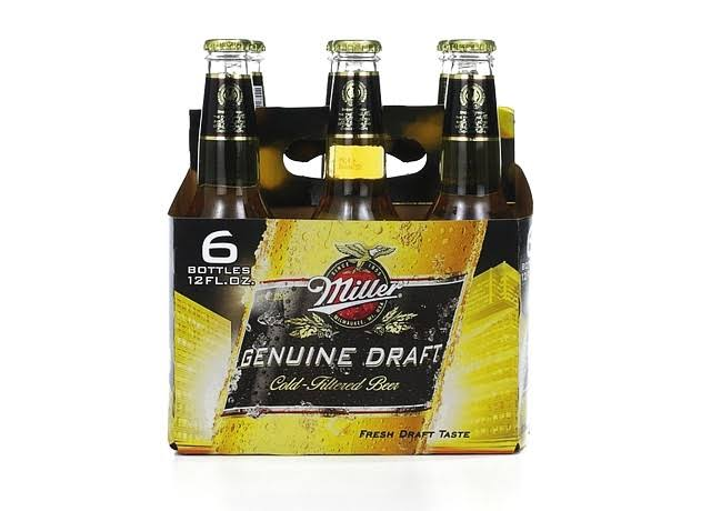 Miller Genuine Draft Beer - Longneck, 12oz, 6pk