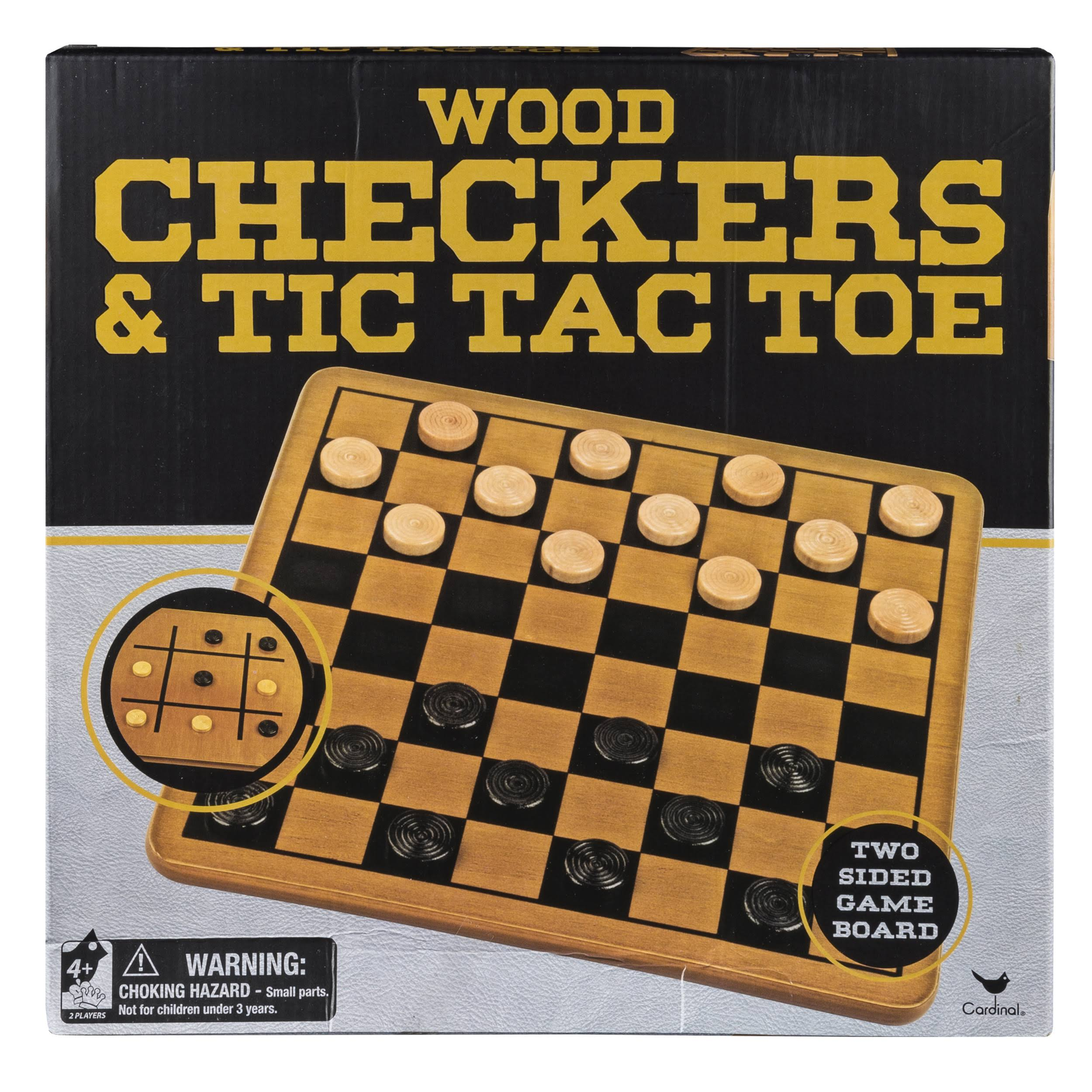 Cardinal Solid Wood Checkers and Tic Tac Toe Oak Finish Folding Board Game