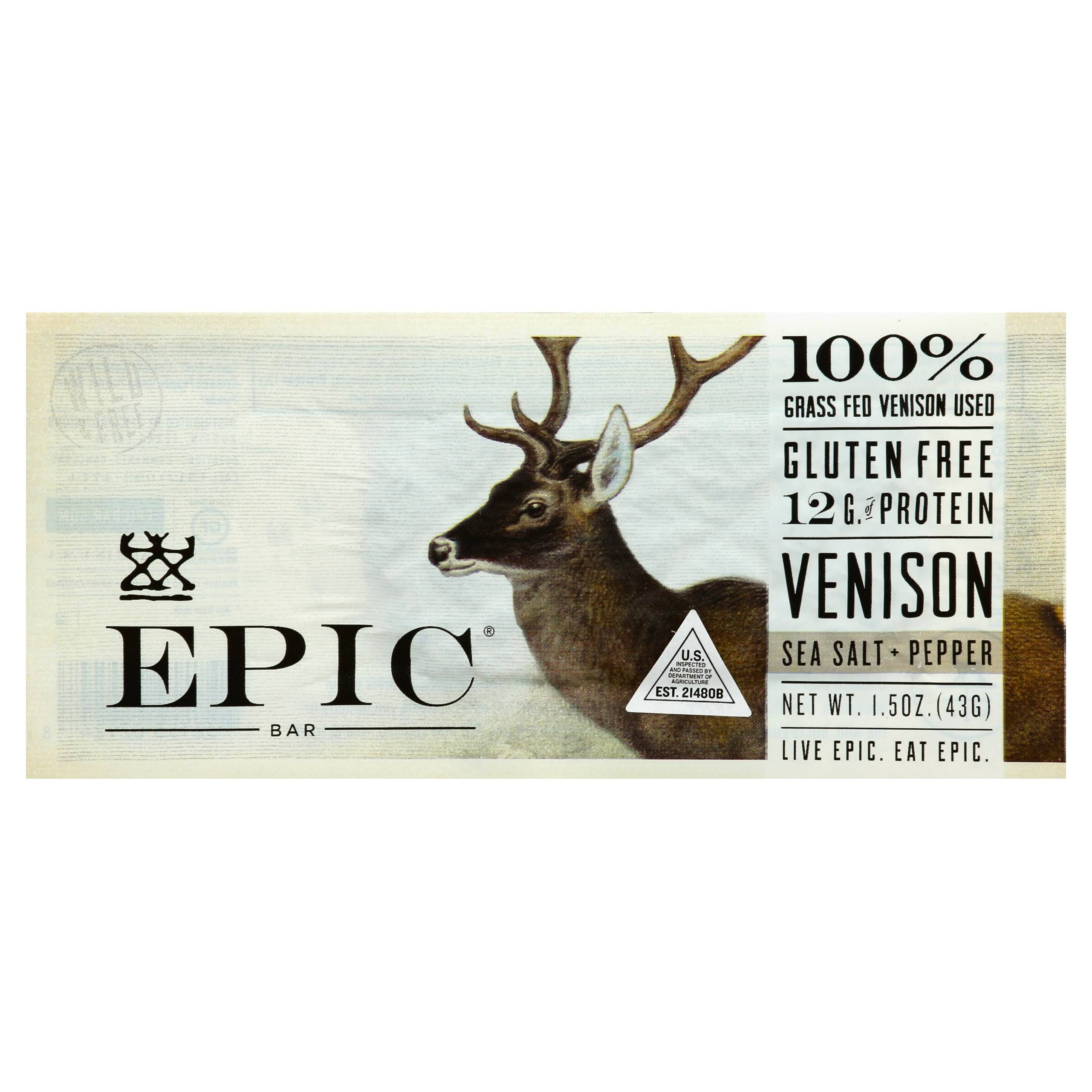 Epic Bar, Venison, Sea Salt + Pepper - 1.5 oz