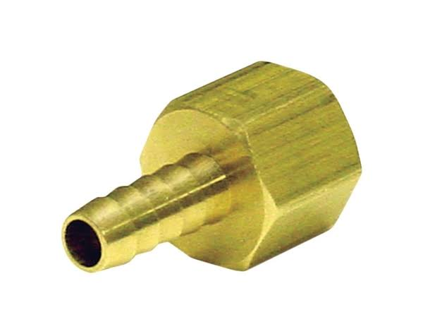 "JMF Lead Free Hose Barb - 5/16"" x 1/4"", Yellow Brass"