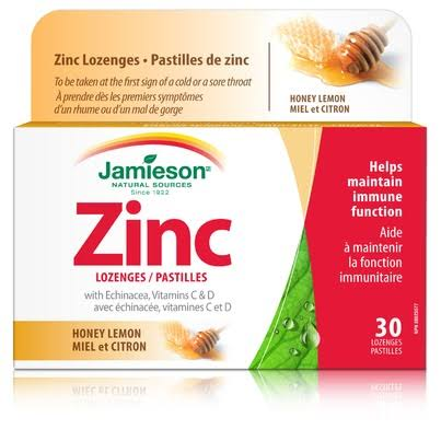 Jamieson Zinc Lozenges with Echinacea Vitamins C and D Honey Lemon